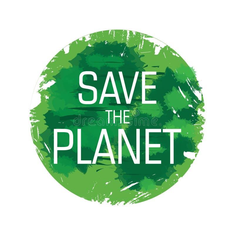 Eco,生物绿色商标,贴纸,标志 有机设计模板 与绿色伤疤的概念象 向量例证