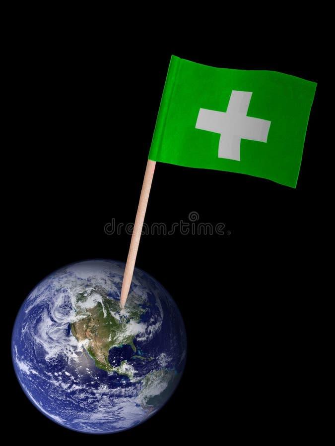 Eco,绿色环境概念-旗子和行星 图库摄影