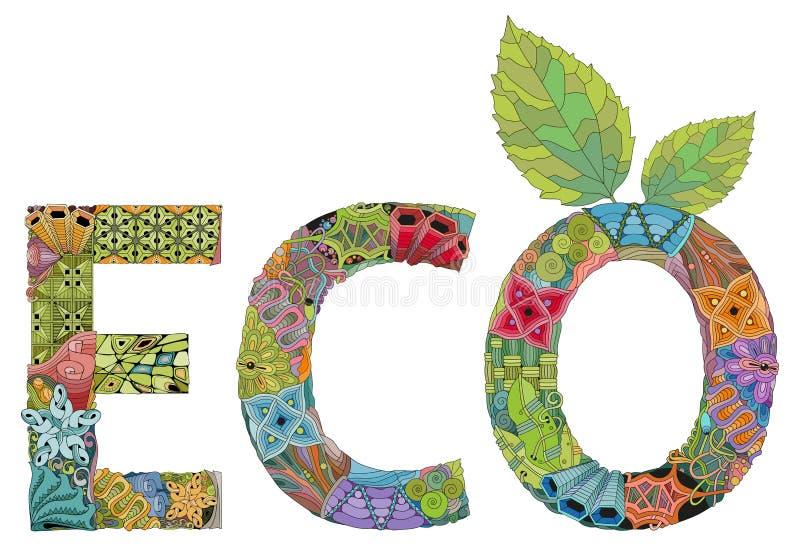 Eco слова Объект zentangle вектора для украшения иллюстрация вектора