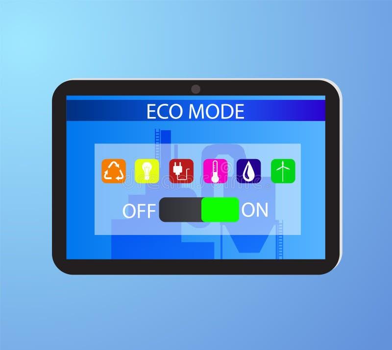 Eco życzliwa fabryka na cyfrowej ekran dotykowy pastylce ilustracji