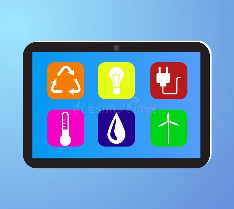 Eco życzliwa fabryka na cyfrowej ekran dotykowy pastylce royalty ilustracja