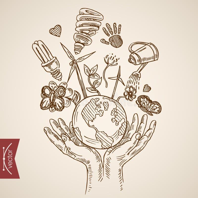 Eco życzliwego światowego życia rytownictwa lineart rocznika energetyczny wektor royalty ilustracja