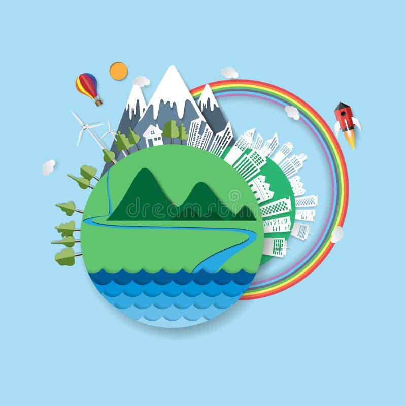 Eco życzliwego papieru pojęcia rżnięty projekt ilustracja wektor