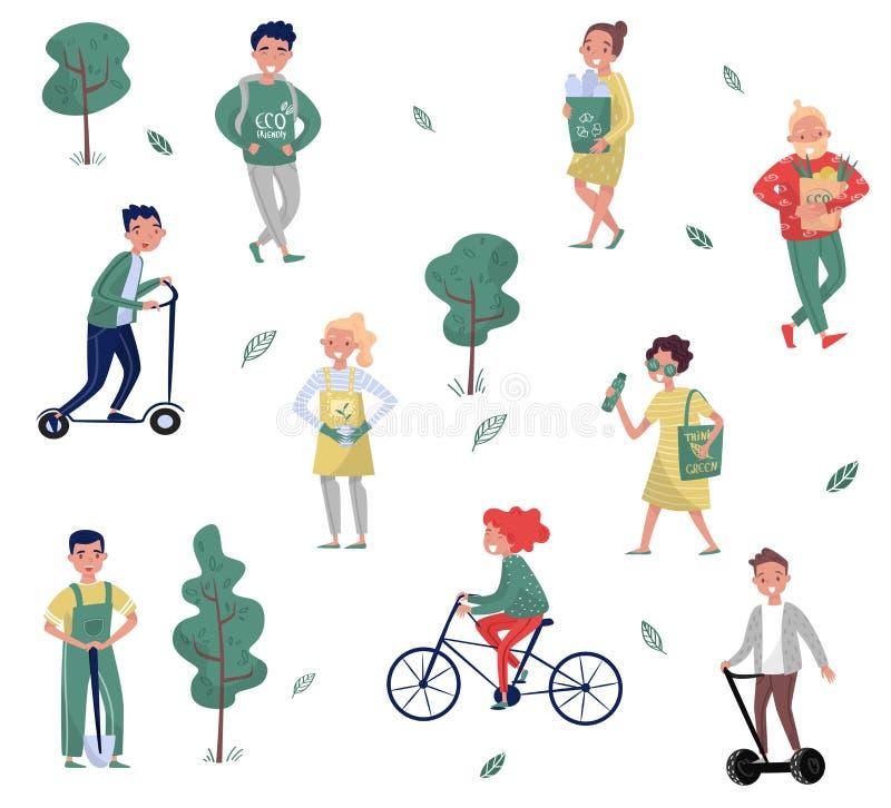 Eco życzliwi ludzie ustawiający, mężczyzna i kobieta ochrania środowisko, używać alternatywa transport, zbiera jałowego wektor royalty ilustracja