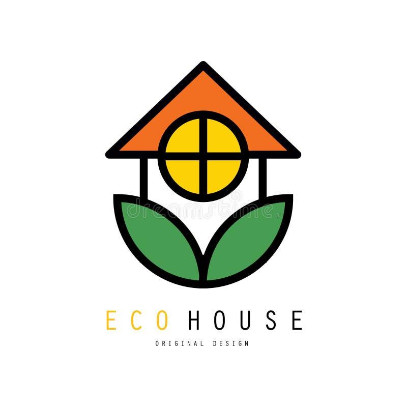 Eco życzliwy domowy logo z zielonymi liśćmi Bezpieczny środowiskowy dom Oryginalny liniowy emblemat Wektor dla biznesowej firmy royalty ilustracja