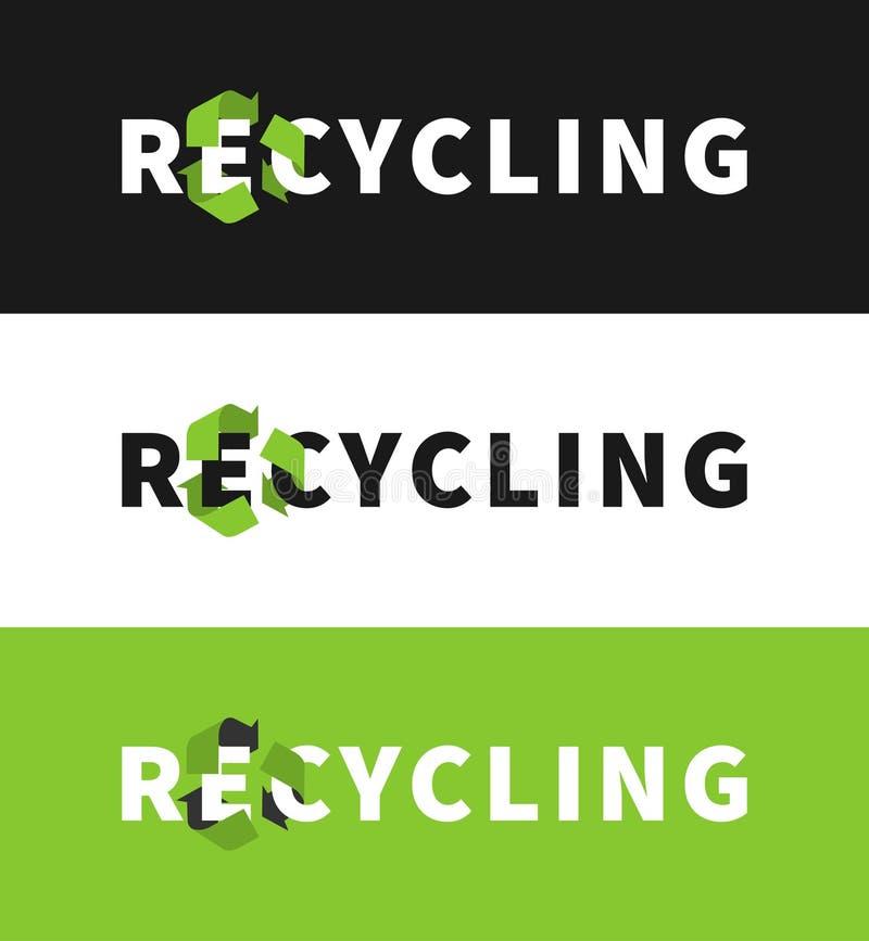 Eco życzliwy ekologiczny kreatywnie pojęcie z przetwarza znaka royalty ilustracja