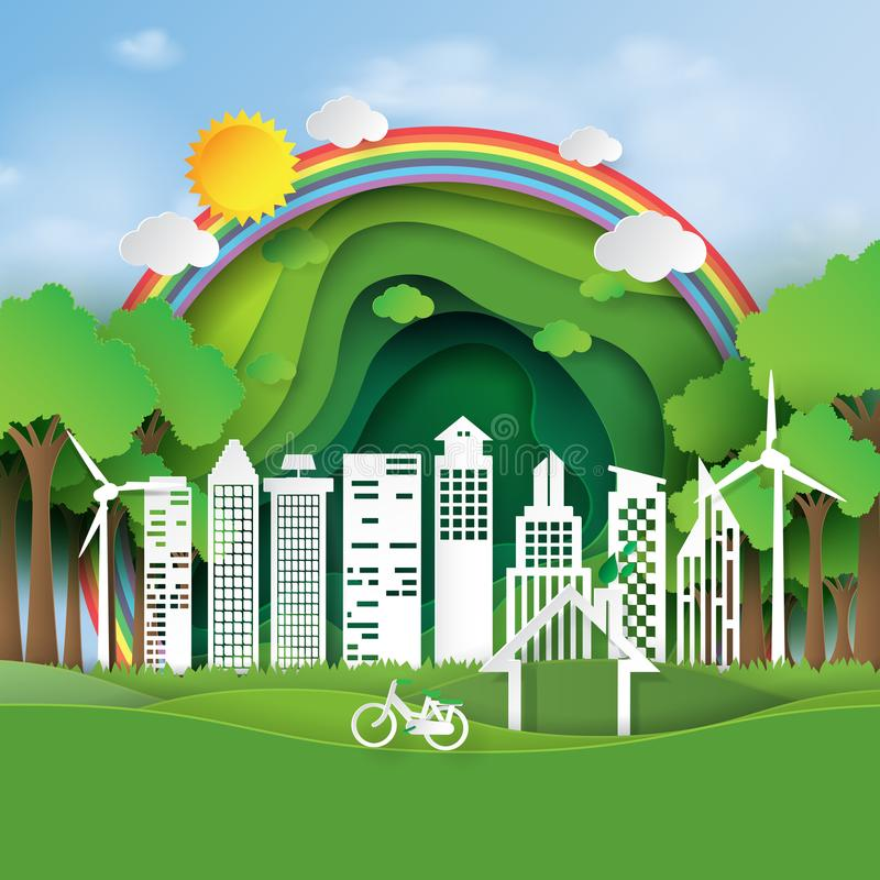 Eco życzliwy i zielony miasto papieru sztuki styl royalty ilustracja