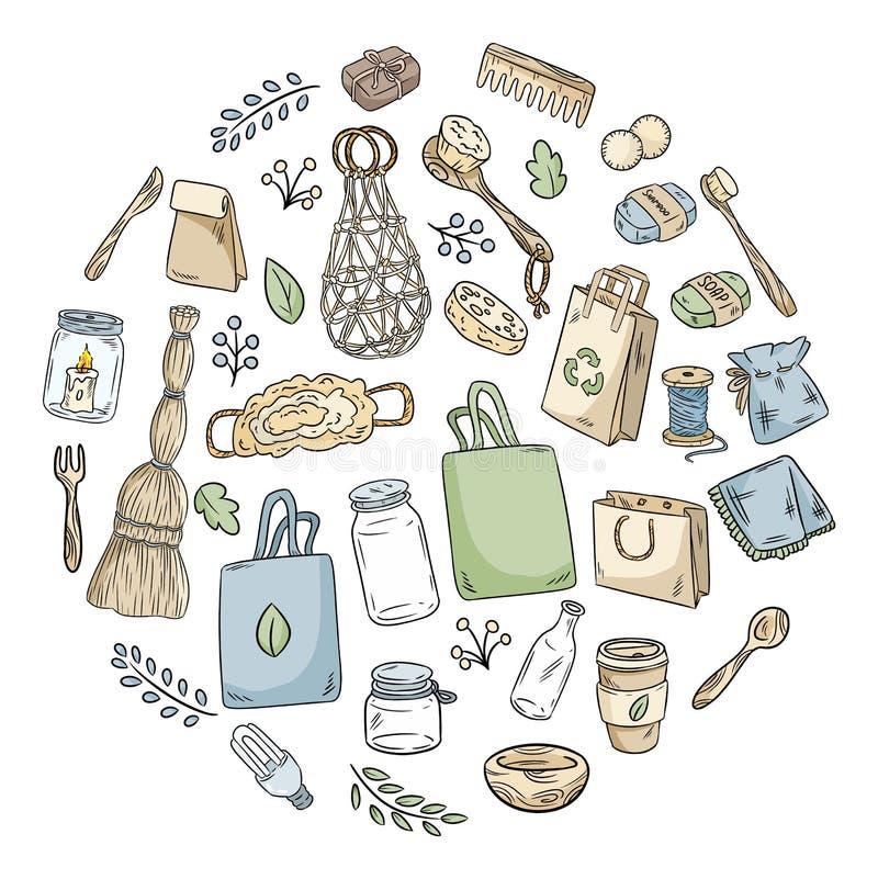 Eco życzliwy set doodles w okręgu Ekologiczna i odpady kolekcja rzeczy E ilustracja wektor