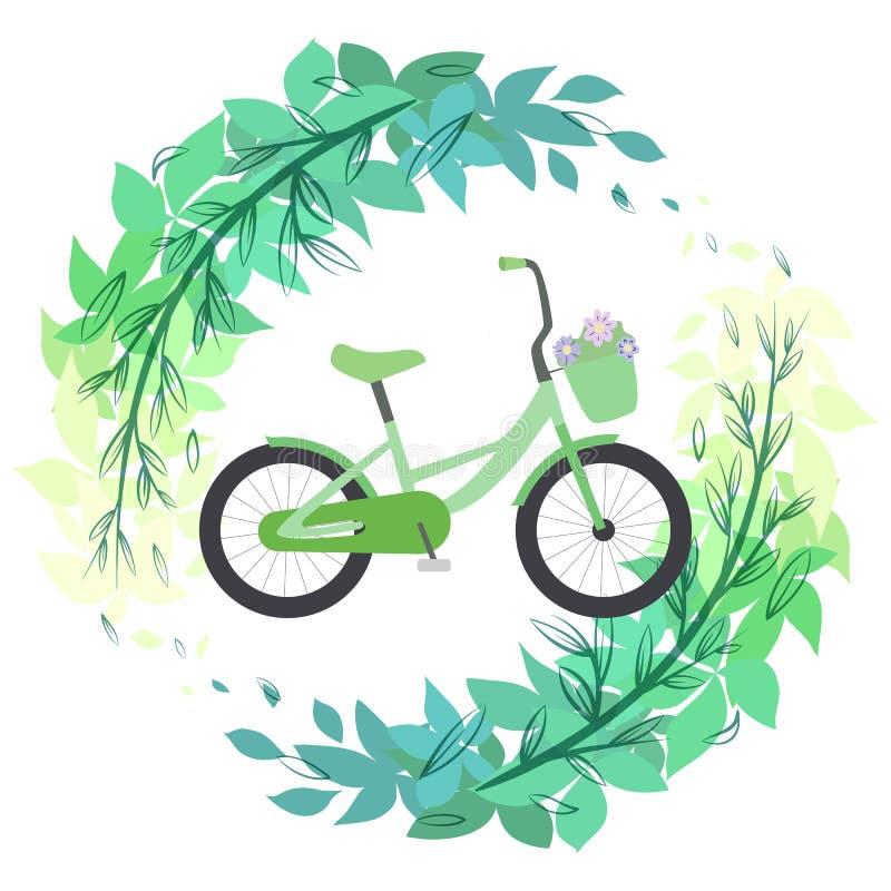 Eco życzliwy tryb transport Zielony rower na gałąź liście Bawi si? styl ?ycia Lato hobby Wektorowa p?aska ilustracja ilustracja wektor