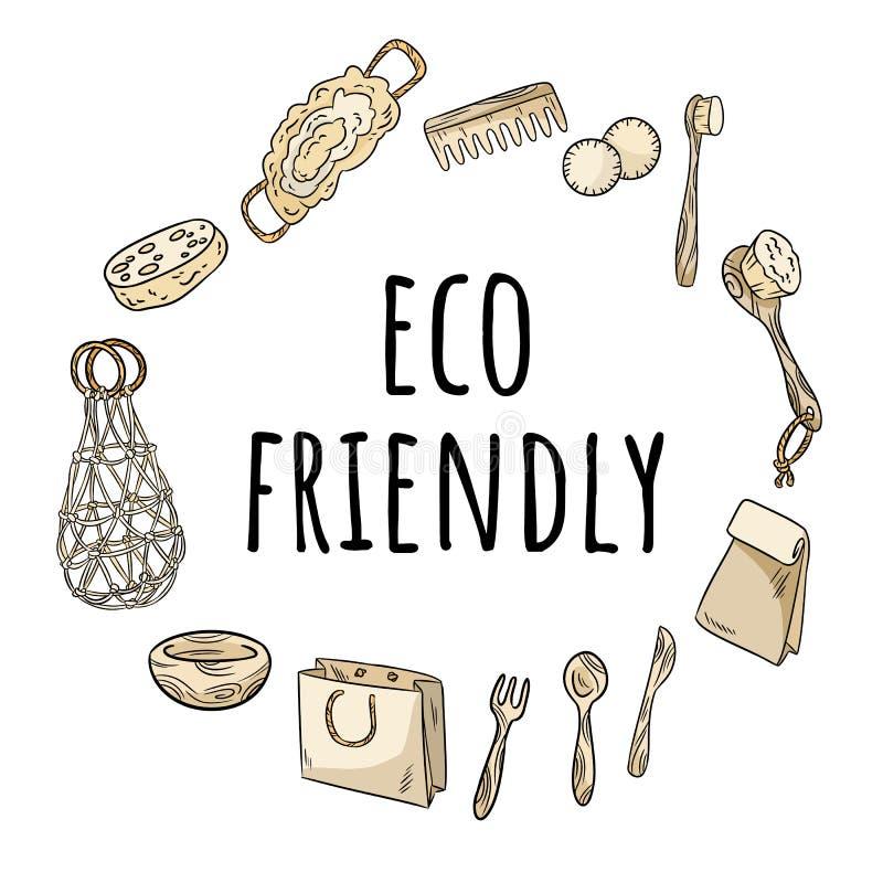 Eco życzliwy wianek żadny plastikowe rzeczy Ekologiczny i odpady ornamentu pojęcie E royalty ilustracja