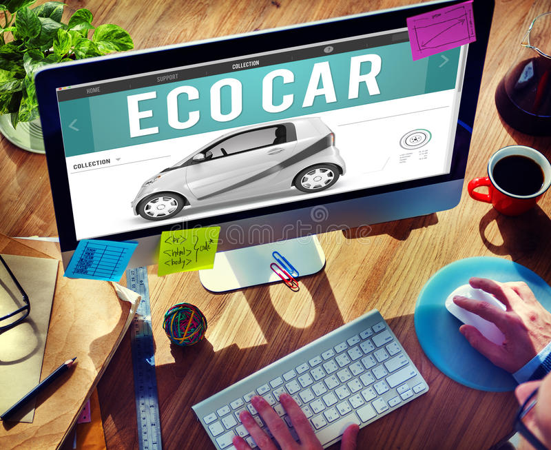 Eco αυτοκινήτων ηλεκτρική έννοια βουλωμάτων καινοτομίας ενεργειακών καυσίμων υβριδική στοκ εικόνα με δικαίωμα ελεύθερης χρήσης