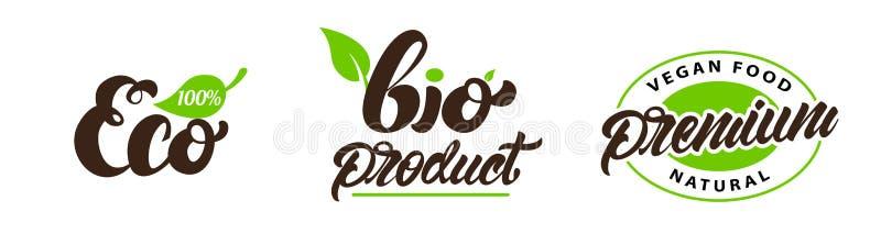 Eco, βιο, ασφάλιστρο logotype στο ύφος εγγραφής Οργανικό, φυσικό προϊόν r διανυσματική απεικόνιση