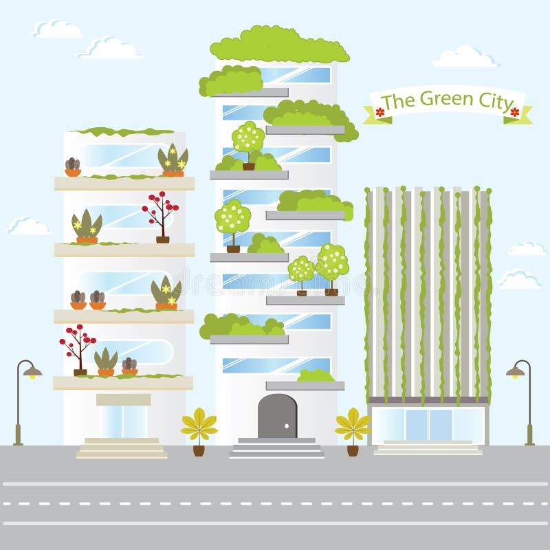 Eco η πράσινη αγάπη φύσης ζωής του σχεδίου οικοδόμησης πόλεων μελλοντική σώζει τη φρέσκια διανυσματική απεικόνιση διανυσματική απεικόνιση