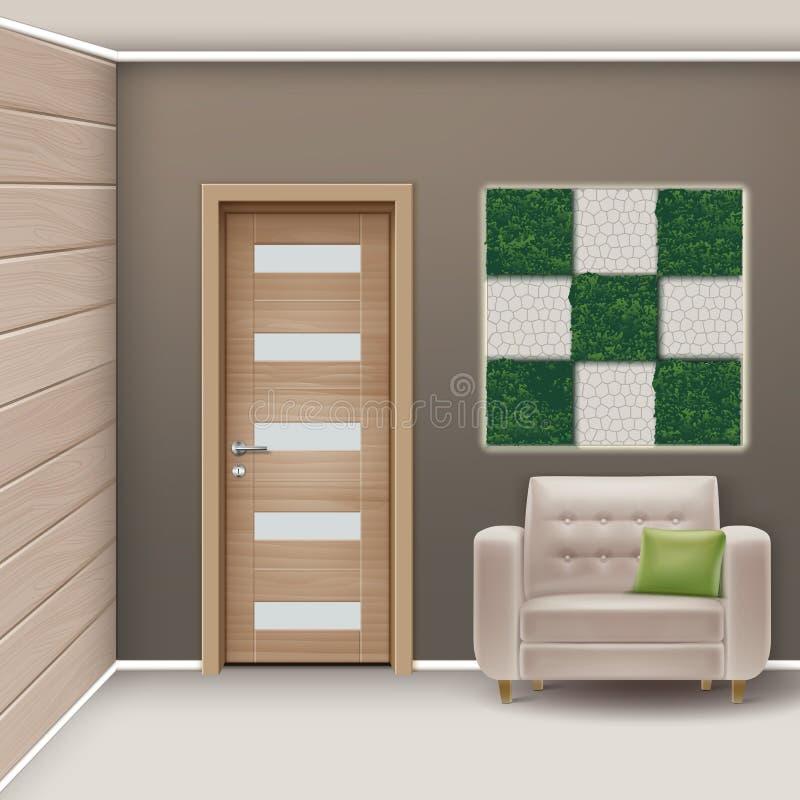 Eco-μινιμαλιστικό δωμάτιο ύφους απεικόνιση αποθεμάτων