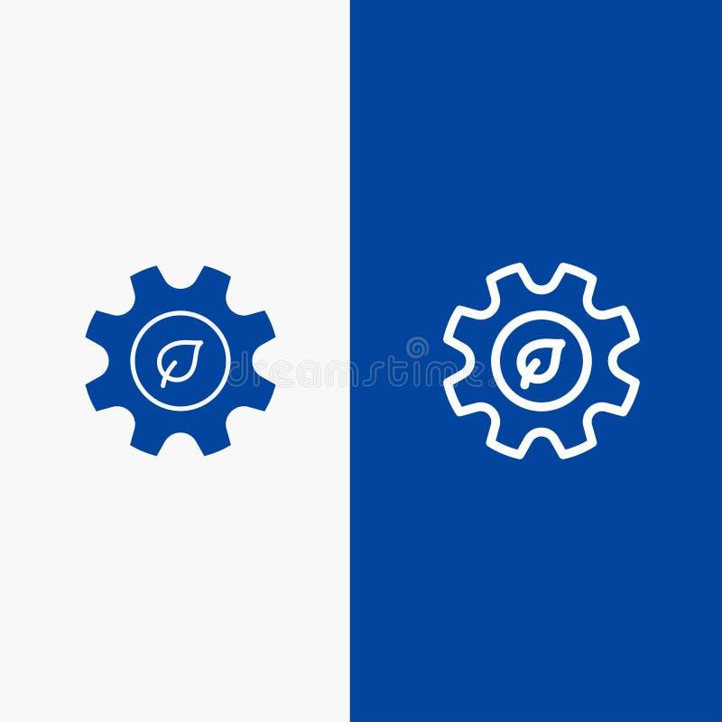 Eco, οικολογία, ενέργεια, γραμμή περιβάλλοντος και στερεά γραμμή εμβλημάτων εικονιδίων Glyph μπλε και στερεό μπλε έμβλημα εικονιδ διανυσματική απεικόνιση