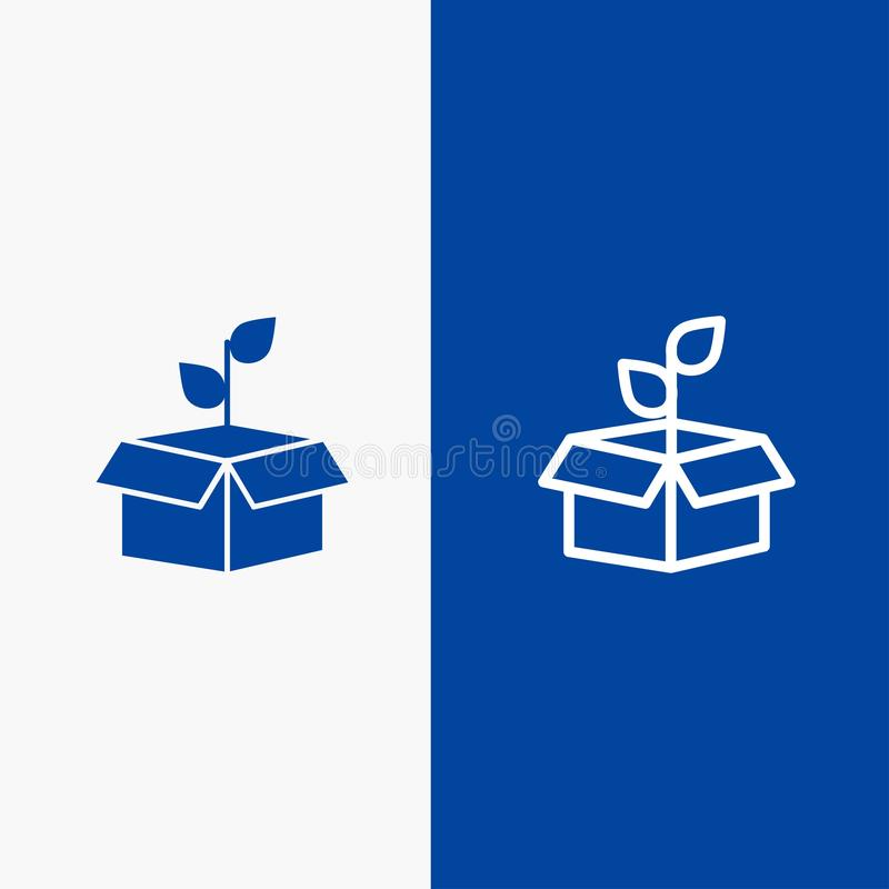 Eco, οικολογία, ενέργεια, εγκαταστάσεις, ηλεκτροφόρο καλώδιο και στερεά γραμμή εμβλημάτων εικονιδίων Glyph μπλε και στερεό μπλε έ διανυσματική απεικόνιση