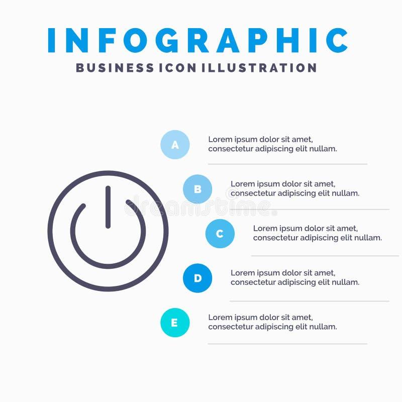 Eco, οικολογία, ενέργεια, περιβάλλον, εικονίδιο ηλεκτροφόρων καλωδίων με το υπόβαθρο infographics παρουσίασης 5 βημάτων διανυσματική απεικόνιση