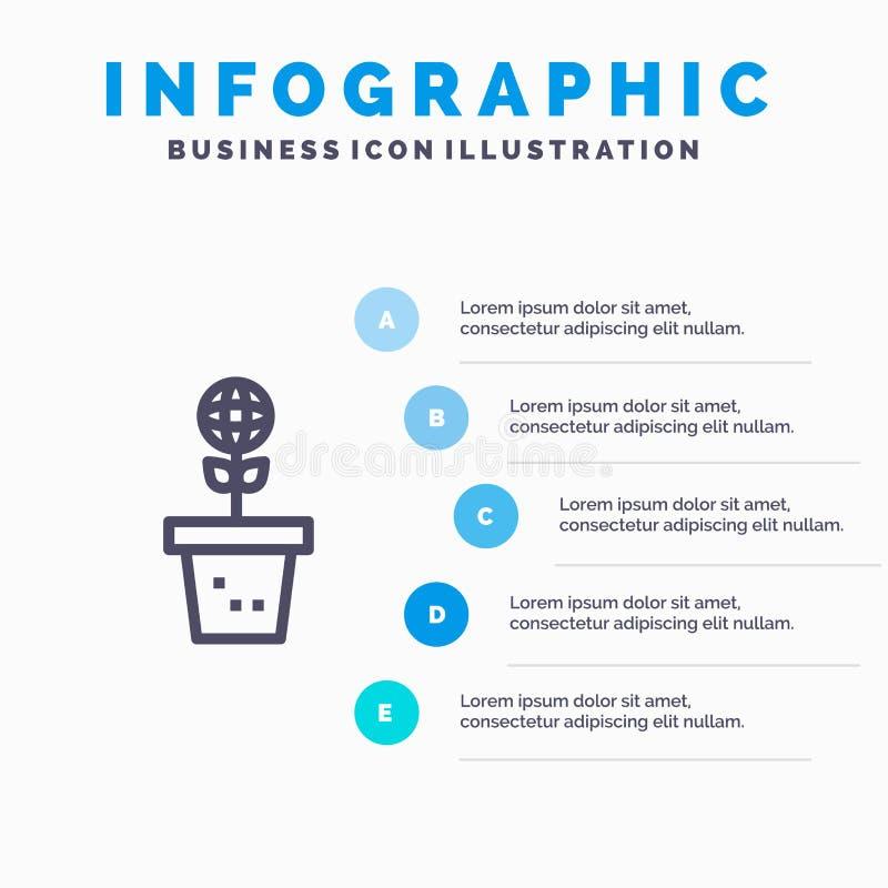 Eco, περιβάλλον, φόρμα, φύση, εικονίδιο γραμμών εγκαταστάσεων με το υπόβαθρο infographics παρουσίασης 5 βημάτων ελεύθερη απεικόνιση δικαιώματος
