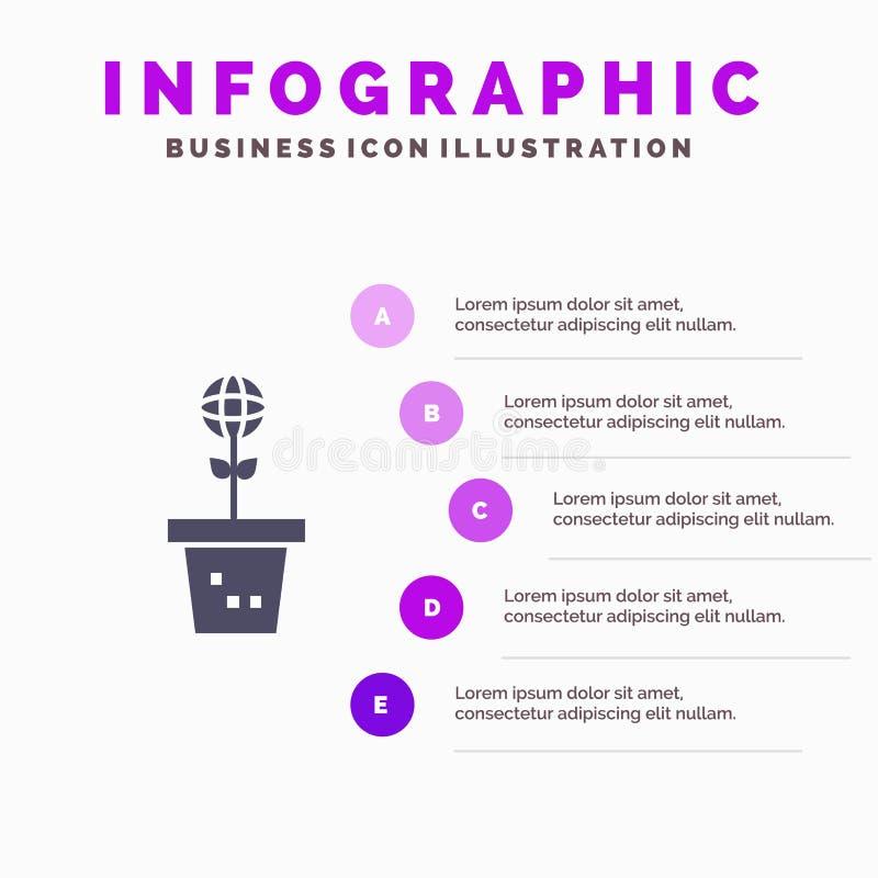 Eco, περιβάλλον, φόρμα, φύση, στερεό εικονίδιο Infographics 5 εγκαταστάσεων υπόβαθρο παρουσίασης βημάτων απεικόνιση αποθεμάτων