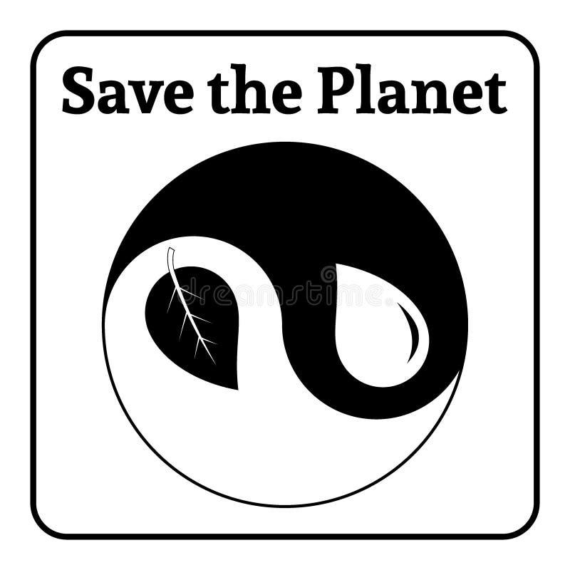 Eco σημαδιών Yin yang διανυσματική απεικόνιση