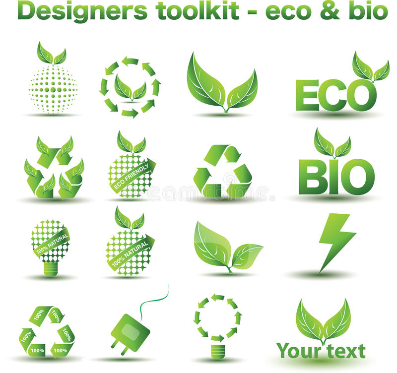 Eco и био иконы иллюстрация вектора