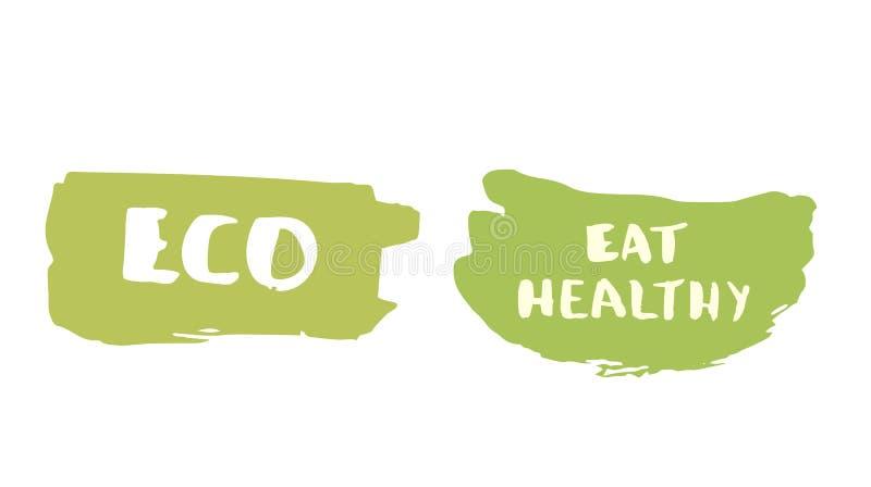 Eco и ест здоровой значок нарисованный рукой также вектор иллюстрации притяжки corel иллюстрация вектора