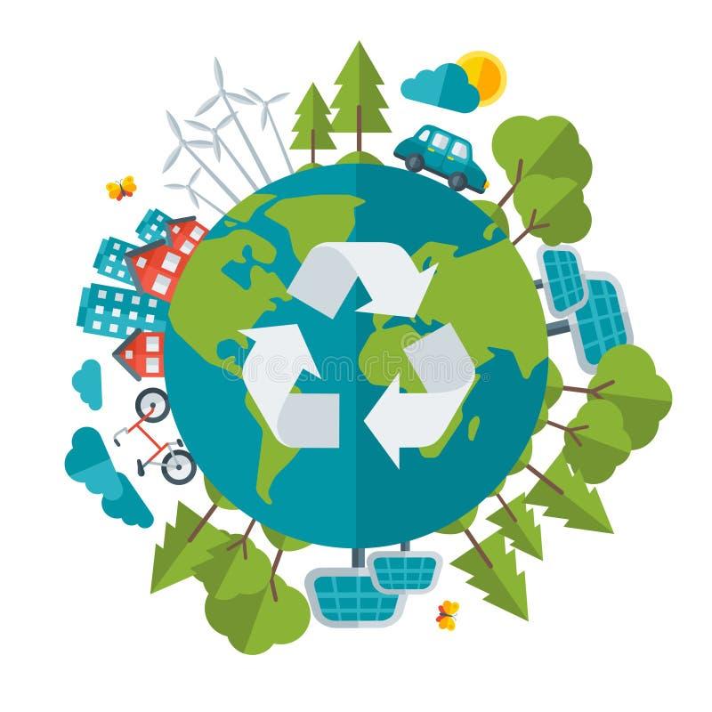 Eco дружелюбное, зеленая концепция энергии, вектор иллюстрация вектора