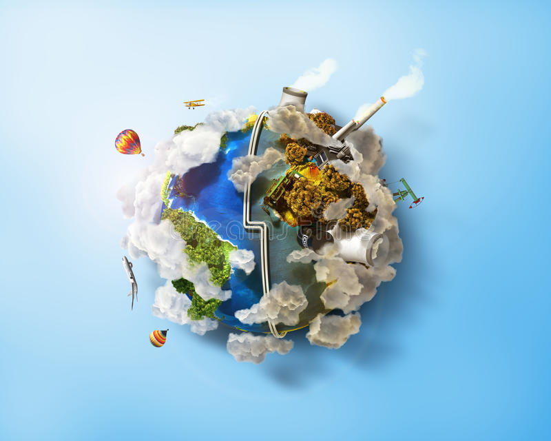 Eco дружелюбное, зеленая концепция энергии иллюстрация вектора