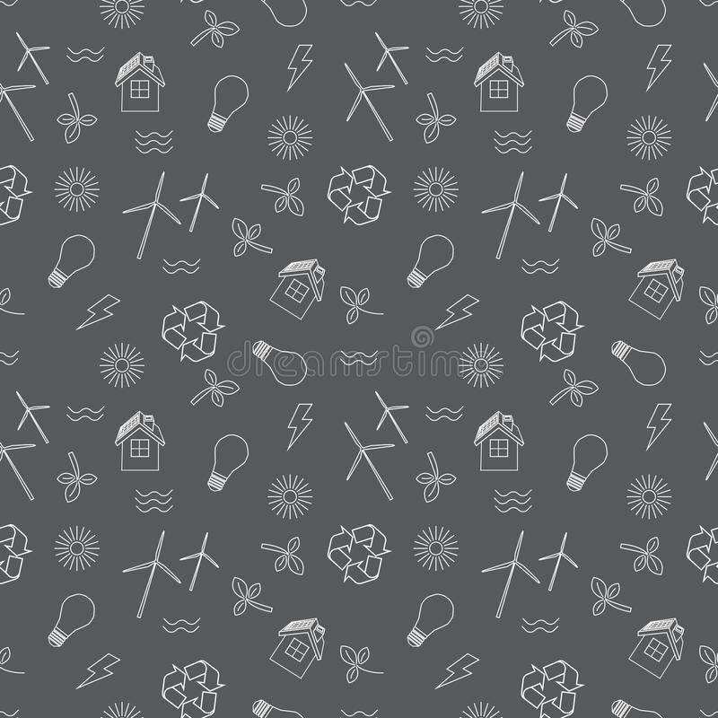Eco связало безшовная печать Содержит символы для разных видов генерирований електричества: ветрогенераторы, панели солнечных бат иллюстрация штока