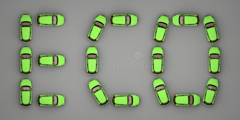 Eco текста зеленых автомобилей иллюстрация штока