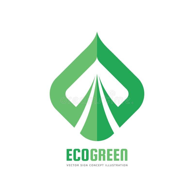 Eco绿化-导航商标模板概念例证 抽象叶子形状标志 创造性的符号 设计要素例证图象向量 库存例证
