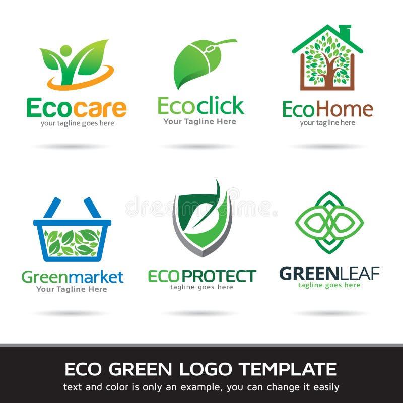 Eco绿色叶子商标模板设计传染媒介 向量例证