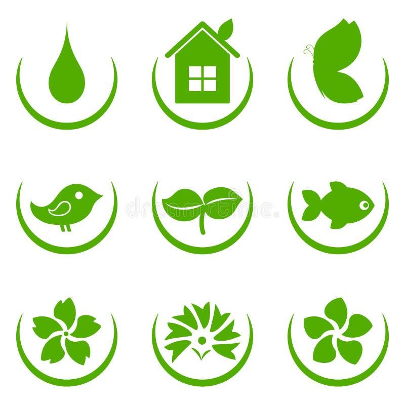 eco绿色图标 向量例证