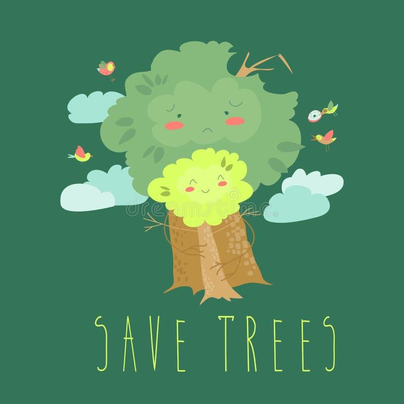 Eco amical Concept d'écologie avec des arbres de bande dessinée illustration libre de droits
