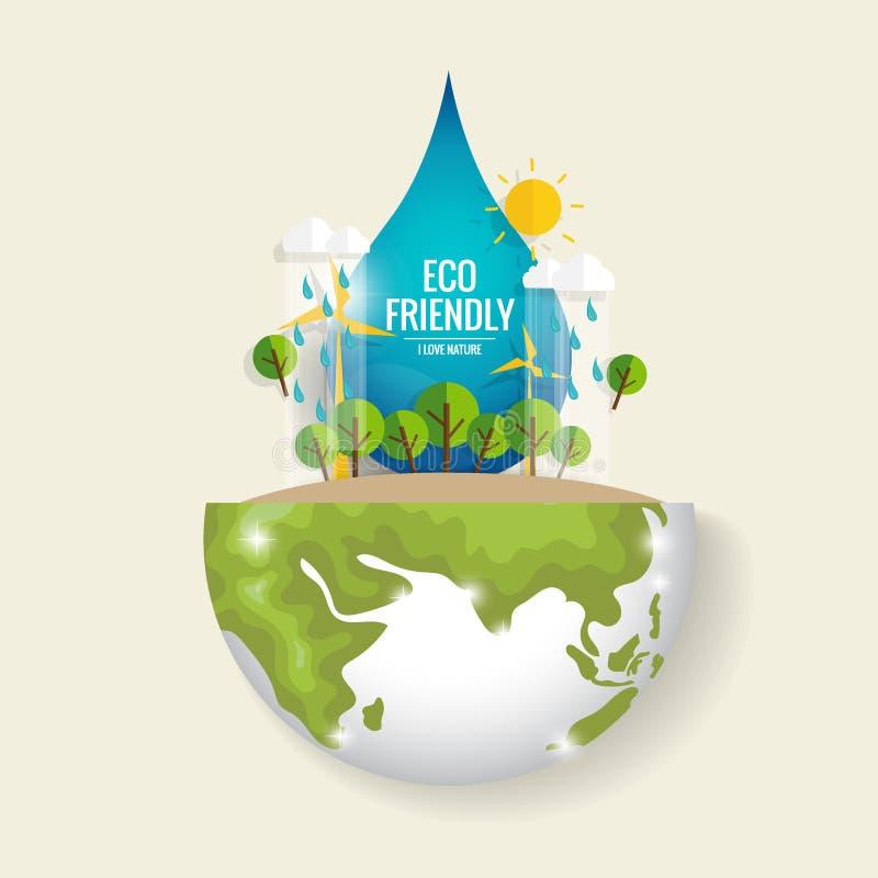 Eco amical Concept d'écologie avec la terre et les arbres verts d'Eco illustration stock