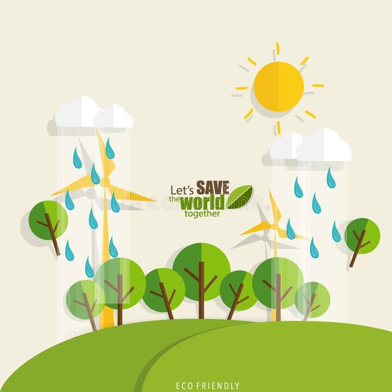 Eco amical Concept d'écologie avec le fond d'arbre illustration libre de droits