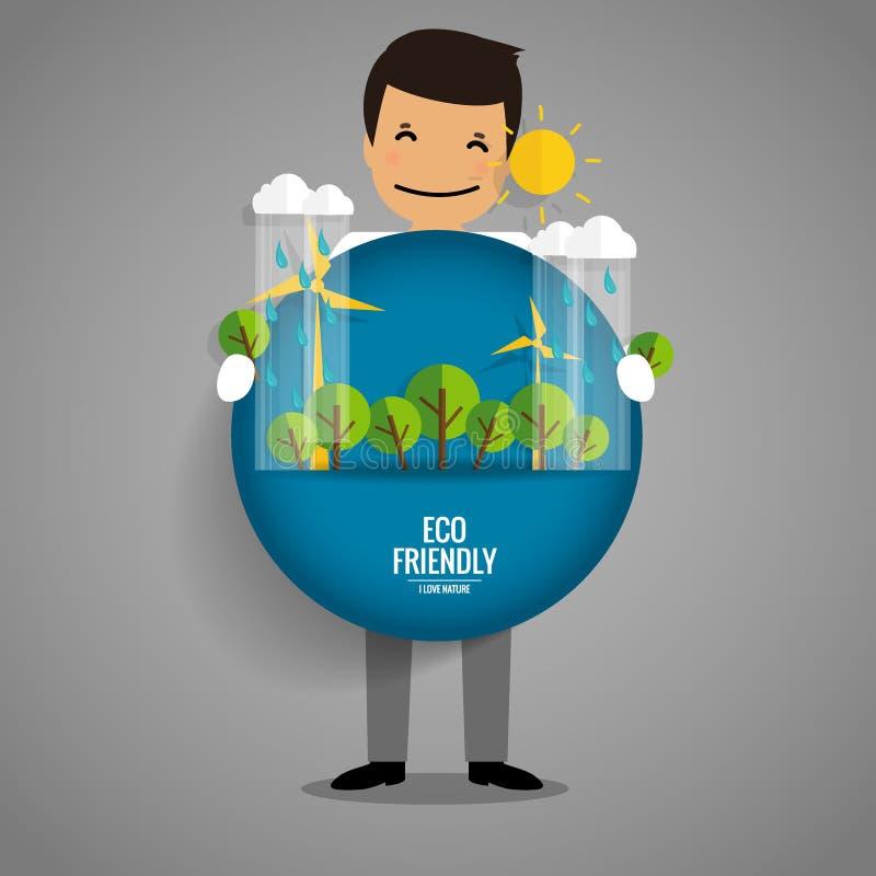 Eco amical Concept d'écologie avec le fond d'arbre Vecteur illustration libre de droits