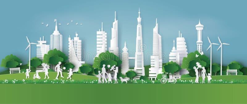 Eco amichevole, conserva la terra e la Giornata mondiale dell'ambiente illustrazione di stock