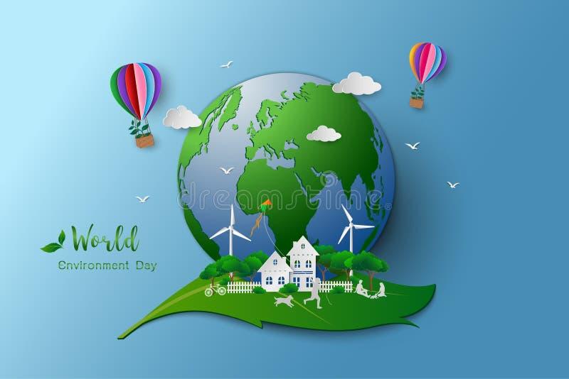 Eco amichevole ed il concetto di conservazione dell'ambiente, famiglia felice e si rilassano con il paesaggio verde della natura illustrazione di stock