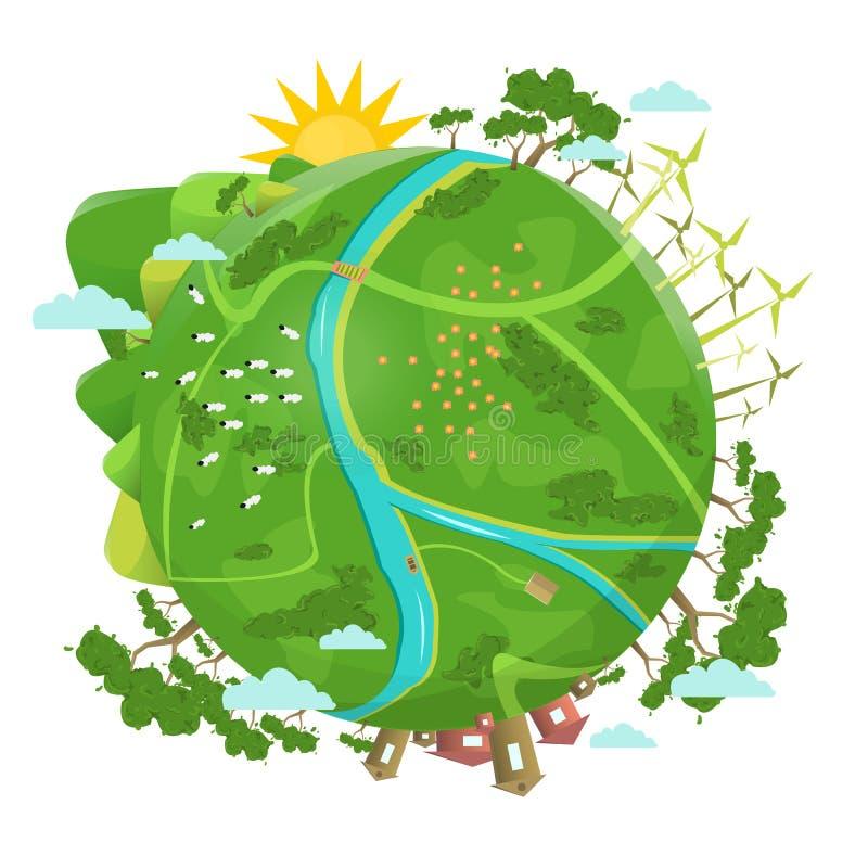 Eco amigável Projeto da ecologia Planeta verde ilustração royalty free