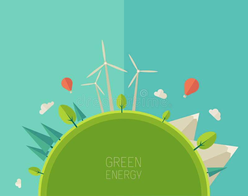 Eco amistoso, concepto verde de la energía, vector plano stock de ilustración
