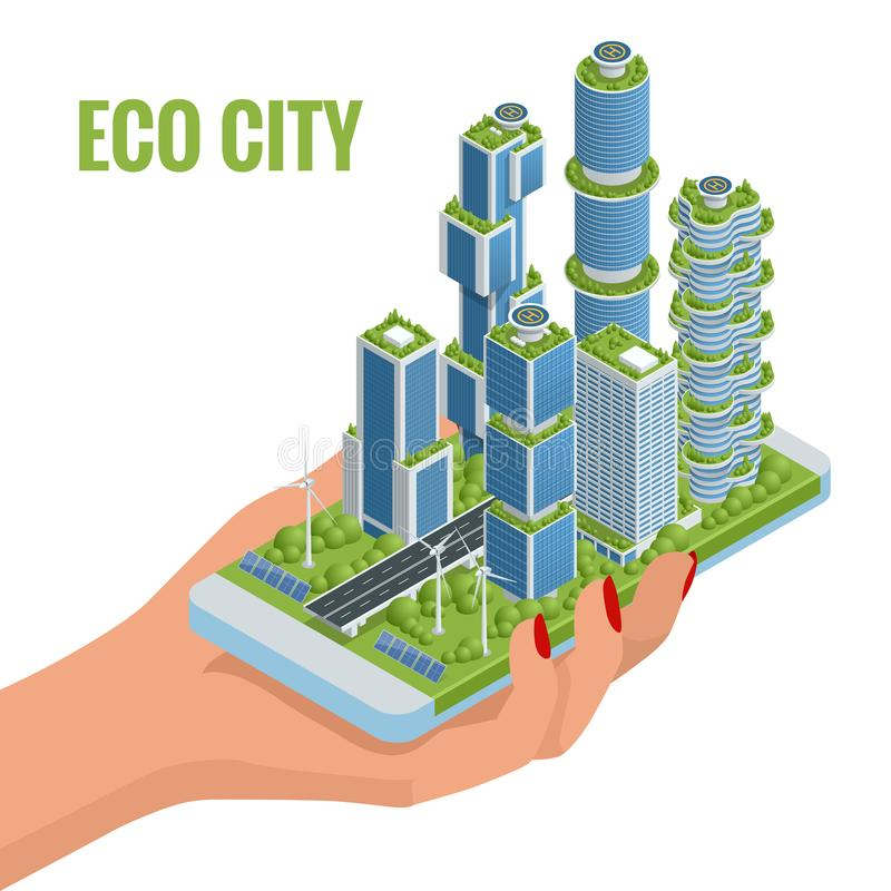 Eco-arquitetura lisa isométrica Construção verde do arranha-céus com as plantas que crescem na fachada no telefone Ecologia e ilustração royalty free