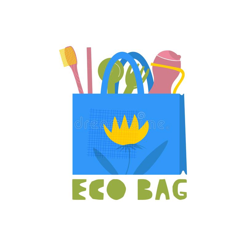 Eco bag vector illustration. Zero waste. Recyclable material, products cartoon clipart. Environment protection. Ecology friendly packaging, containers. Plastic stock illustration