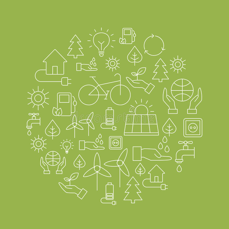 Eco bakgrund - sparande av planeten vektor illustrationer
