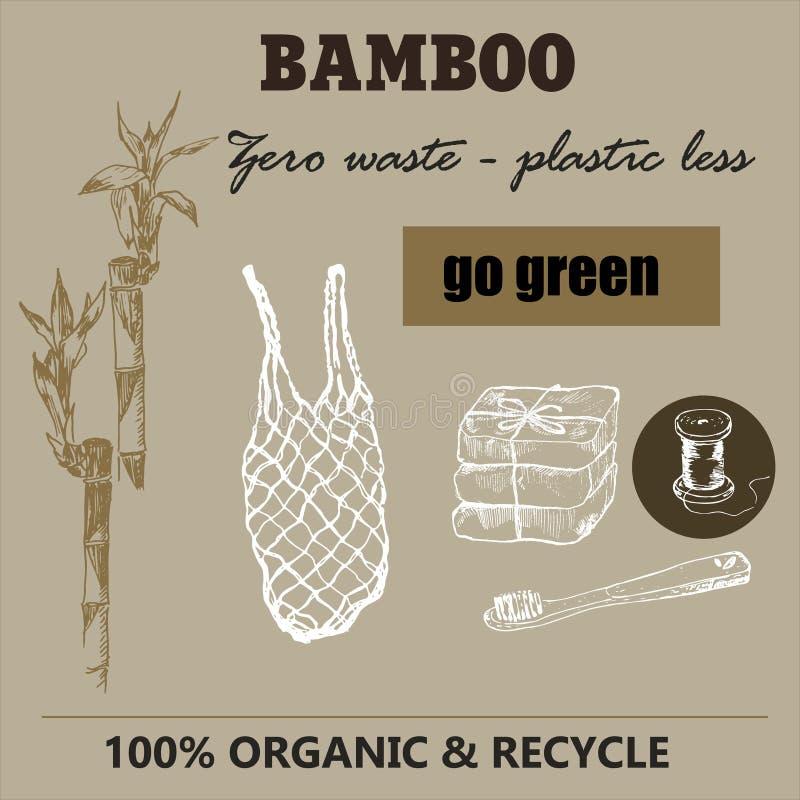 Eco bamboo and zero waste sketch. Zero waste vector illustration EPS 10. Go green, ecological, no plastic, save the vector illustration