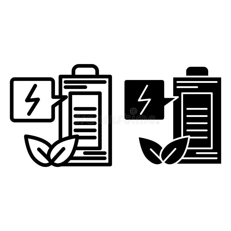 Eco batterilinje och skårasymbol Illustration för ekologiladdningsvektor som isoleras på vit Stil för ekologiackumulatoröversikt stock illustrationer