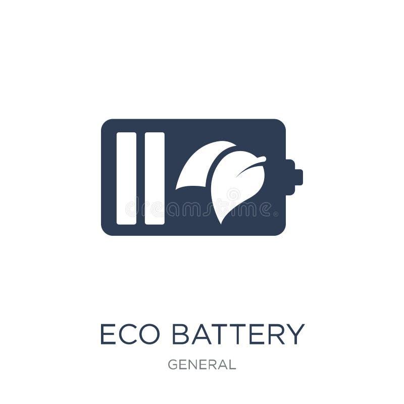 Eco batterisymbol Moderiktig plan symbol för vektorecobatteri på vitt b stock illustrationer