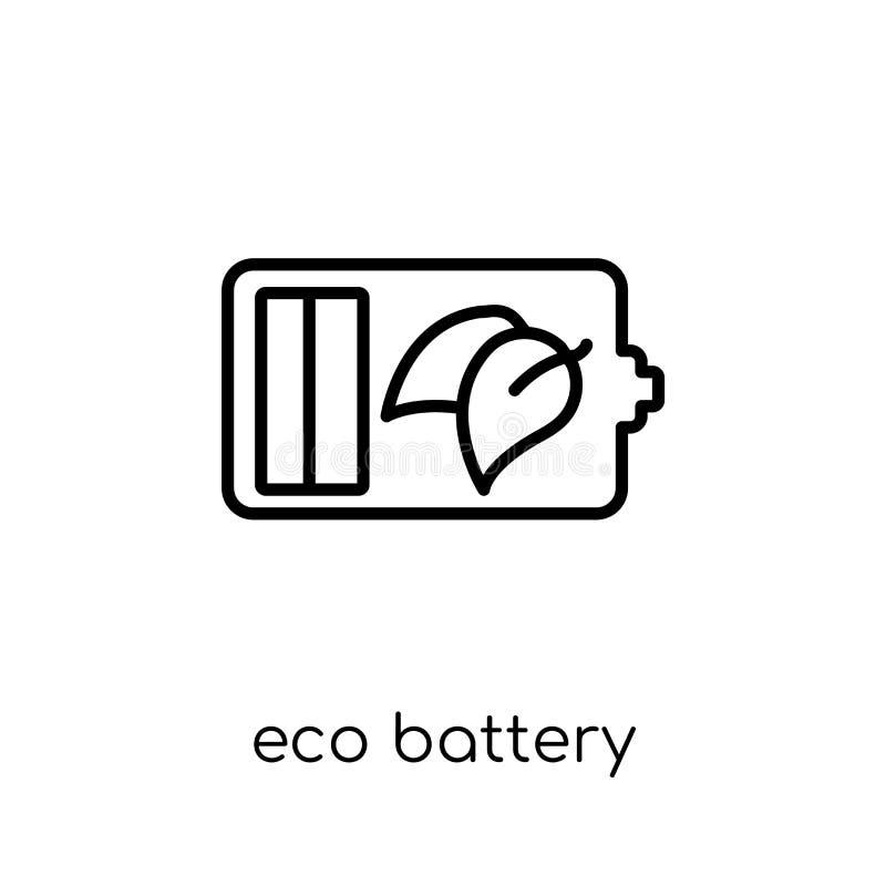 Eco batterisymbol Moderiktigt modernt plant linjärt vektorecobatteri I stock illustrationer