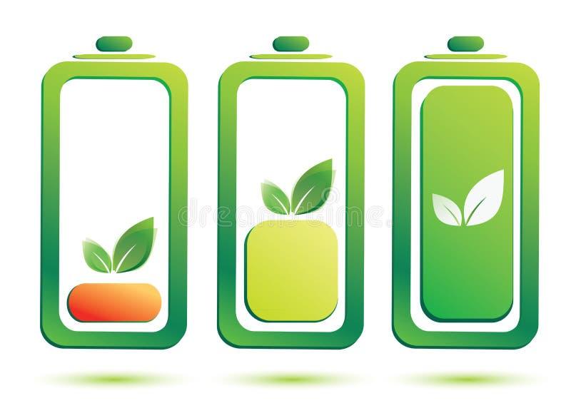 Eco battery charge level. Icons set royalty free illustration