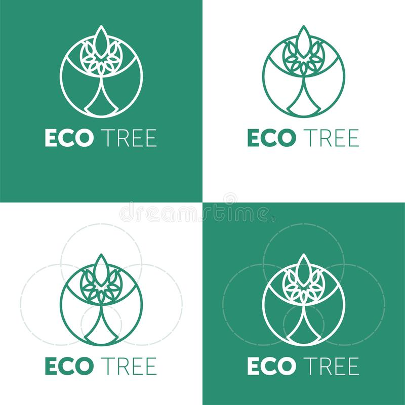 Eco-Bauernhoflogo-Entwurfsidee Gutes Lebensmittel f?r kreatives Symbolkonzept der guten Leute stock abbildung